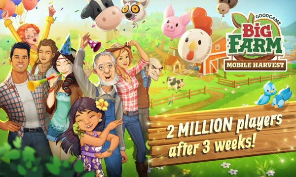 Goodgame Big Farm: Mobile Harvest, 2 Million Players