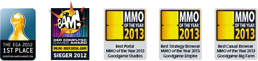 European Games Award, BÄM! Award, MMO of the Year 2013 — Best Portal — Goodgame Studios, MMO of the Year 2013 - Best Strategy Browser MMO — Goodgame Empire, MMO of the Year 2013 - Best Casual, Browser MMO — Goodgame Big Farm